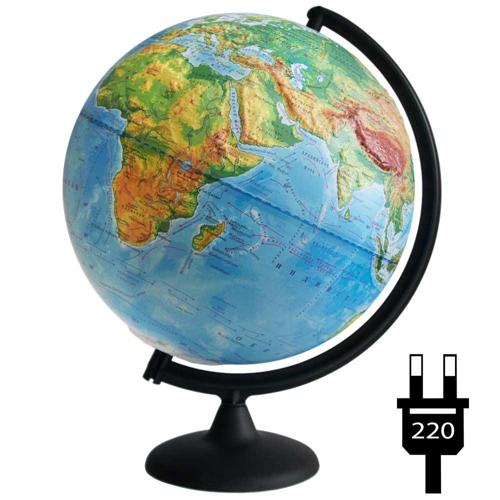 Картинка для Глобус физический рельефный с подсветкой, диаметр 320 мм