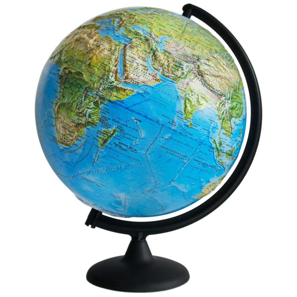 Глобус Земли ландшафтный рельефный, диаметр 320 мм фото