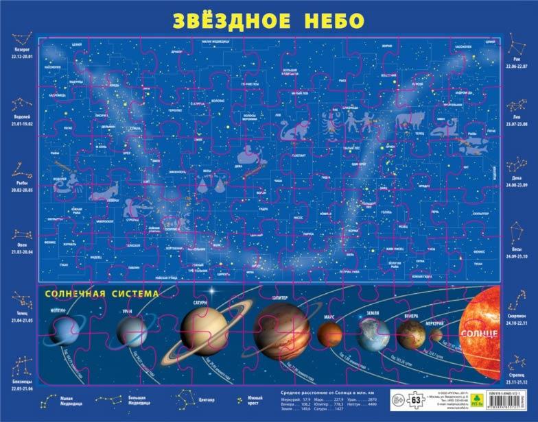 Картинка для Карта-пазл звездного неба и Солнечной системы, на подложке, 63 элемента