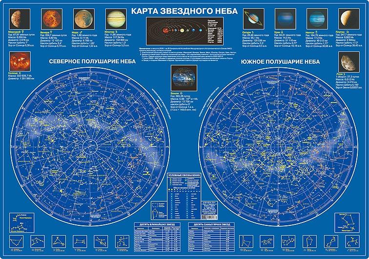 Карта звездного неба, ламинированная, настольная фото