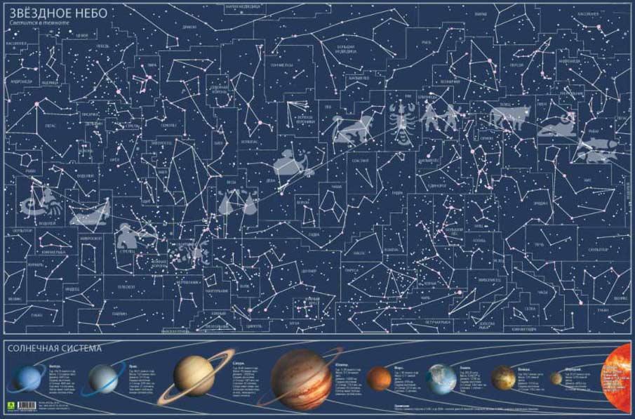 Картинка для Карта звездного неба, светящаяся в темноте, настенная