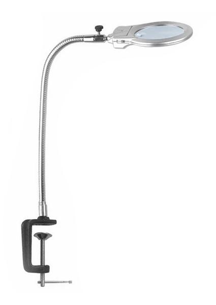 Картинка для Лупа Kromatech настольная 2/5x, 130/22 мм, на струбцине и гибком штативе с подсветкой (2 LED) MG15124-C