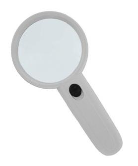 Картинка для Лупа Kromatech ручная круглая 3х, 75 мм, с подсветкой (2 LED), белая MG6B-5