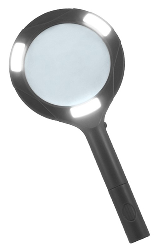 Картинка для Лупа Kromatech ручная круглая 3х, 80 мм, с подсветкой (3W COB LED)