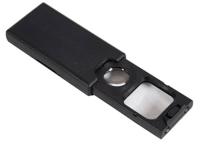 Картинка для Лупа Kromatech ювелирная 5/45x, 30x30/21 мм, раздвижная, с подсветкой (3 LED) MG9582