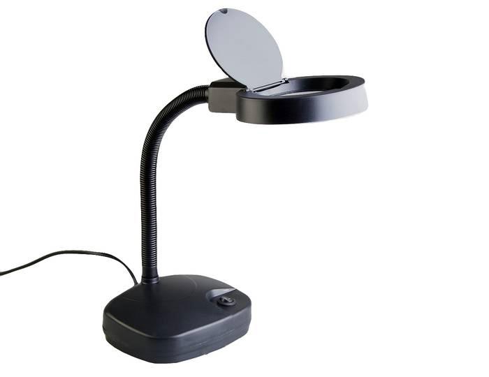 Картинка для Лупа-лампа настольная Veber 3D/8D, 1,75х/3x, 86/21 мм, с подсветкой, черная (8611)