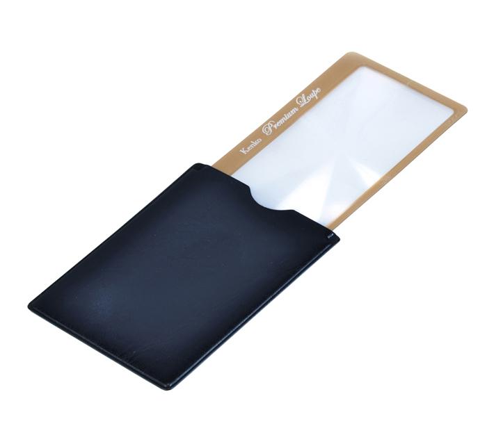 Картинка для Лупа-закладка Kenko Premium 3х, 41x73 мм, с чехлом со стопором, золотистая (KLT-015)