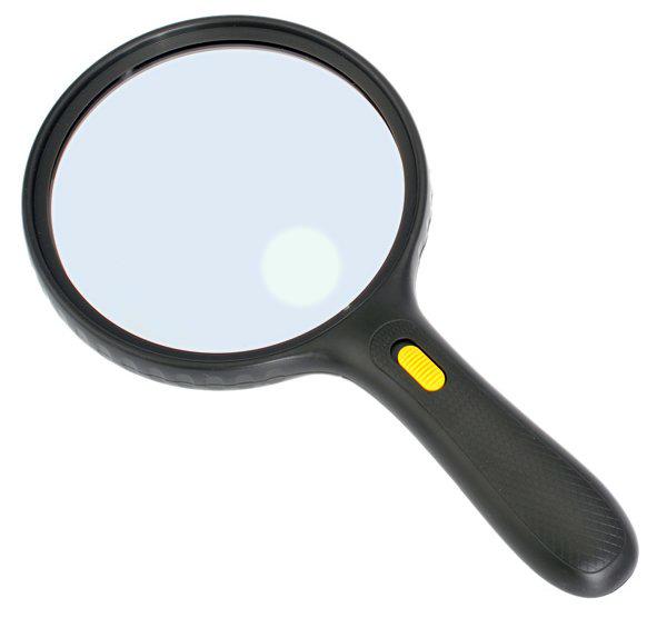 Картинка для Лупа Kromatech ручная круглая 1,8/5х, 138 мм, с подсветкой (3 LED), черная MG-9986-E
