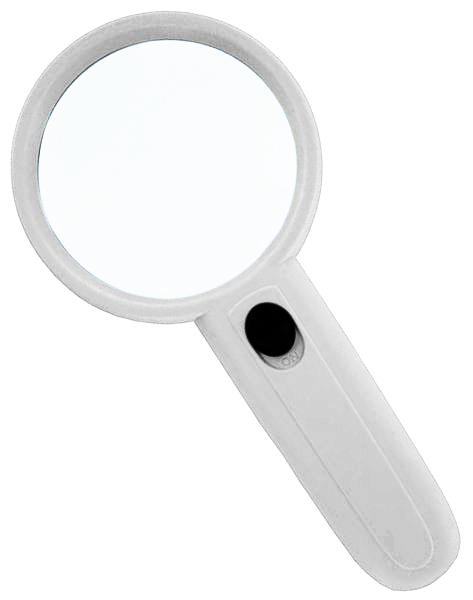 Картинка для Лупа Kromatech ручная круглая 4х, 65 мм, с подсветкой (2 LED), белая MG6B-4