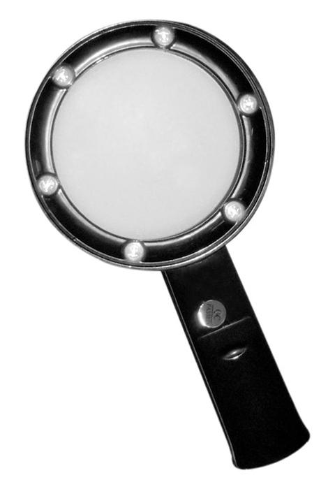Лупа Kromatech ручная круглая 5х, 75 мм, с подсветкой (6 LED), черная ZB666-075  570.000