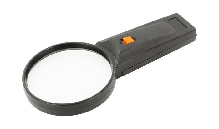 Картинка для Лупа на ручке 3x, пластик, с подсветкой (26-75)