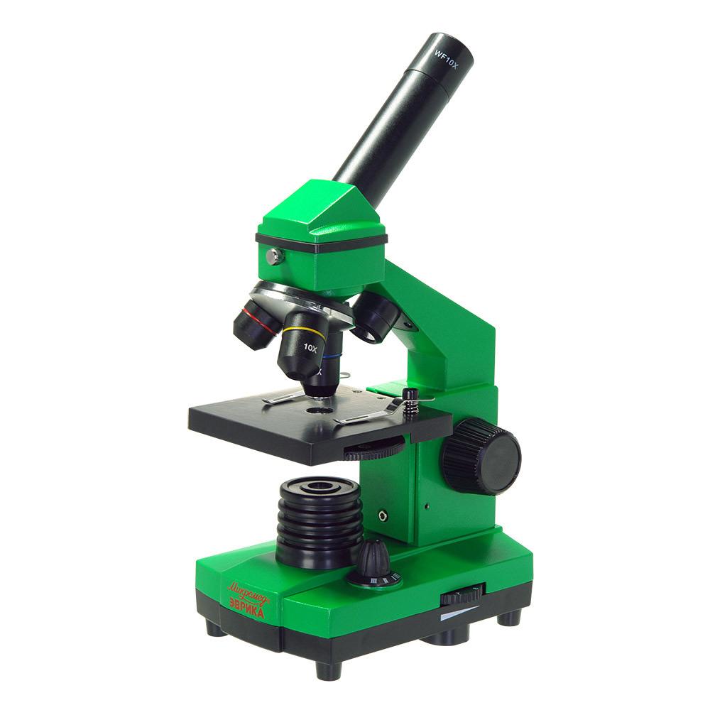 Картинка для Микроскоп Микромед «Эврика» 40х–400х, лайм, в кейсе