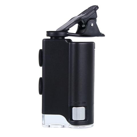 Картинка для Микроскоп карманный Kromatech 60–100x мини, с креплением для смартфона, подсветкой (1 LED) и ультрафиолетом (7751W)