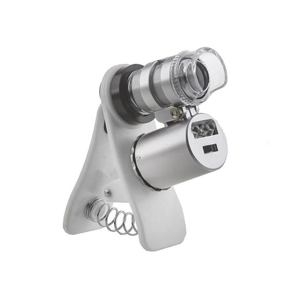 Картинка для Микроскоп Kromatech 60x мини, с креплением для смартфона, подсветкой (2 LED) и ультрафиолетом (9882-W)