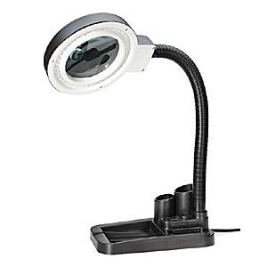 Картинка для Лупа-лампа Kromatech бестеневая 2/20x, 85 мм, с подставкой для ручек и подсветкой (40 LED)