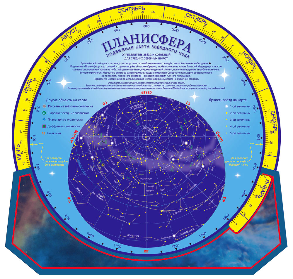 Картинка для Карта звездного неба подвижная «Планисфера»