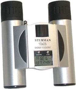 Бинокль STURMAN 10x25 с термометром  1020.000