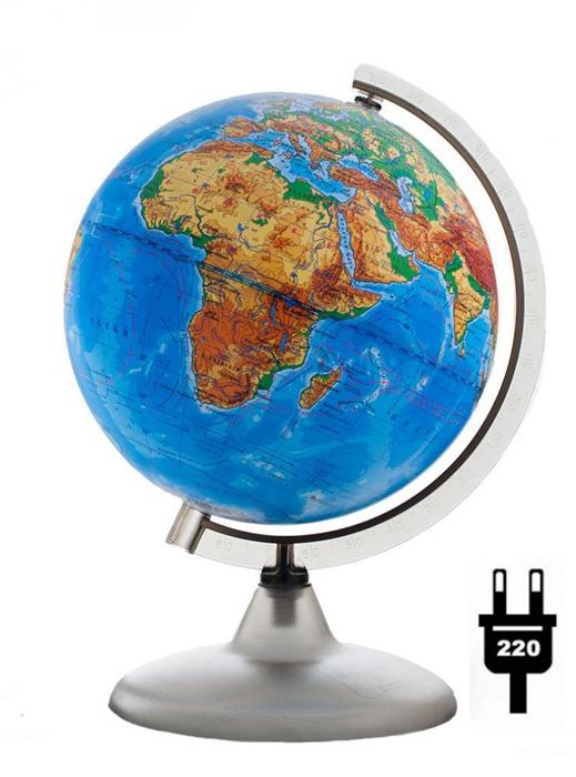 Картинка для Глобус физический с подсветкой, диаметр 200 мм